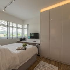 Design & Build: New HDB @ Sumang Link (Eclectic) Eclectic style bedroom by erstudio Pte Ltd Eclectic