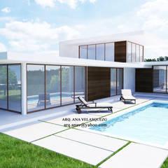 CASA DE 500 M2: Casas de campo de estilo  por ESCENA VIRTUAL 3D ARQUITECTURA