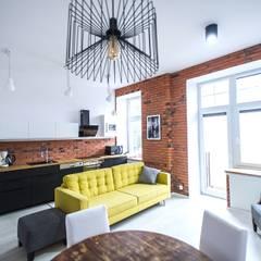 Mieszkanie w stylu industrialnym.: styl , w kategorii Salon zaprojektowany przez Pasja Do Wnętrz