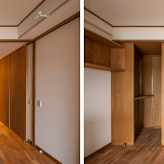 簾戸のあるフラット: 千田建築設計が手掛けたドアです。,モダン 木 木目調