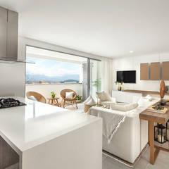 Salón  y cocina: Salas de estilo mediterráneo por Maria Mentira Studio