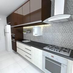 Felicitá Residencial : Armários e bancadas de cozinha  por Dayane Medeiro Arquitetura e Interiores