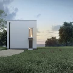 Cube House Studio A&W: styl minimalistyczne, w kategorii Domy zaprojektowany przez  Architekt Łukasz Bulga Studio A&W Kraków | Projekty domów nowoczesnych