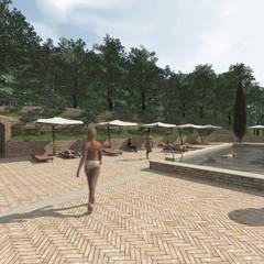 Bio-Piscina per una Country House nelle Marche: Giardino con piscina in stile  di JFD - Juri Favilli Design