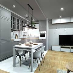 Mieszkanie dla dwojga: styl , w kategorii Salon zaprojektowany przez Karolina Czech Pracownia Architektury i Wnętrz