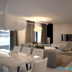 Projekt wnętrz salonu w domu jednorodzinnym nad jeziorem Pławniowice: styl , w kategorii Salon zaprojektowany przez Archi group Adam Kuropatwa