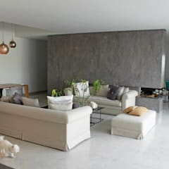 Villa Grey:  Living room by Fares Ksouri Architecte