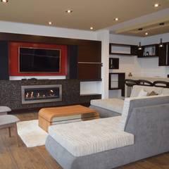 Vivienda Sachaca: Salas / recibidores de estilo moderno por B+ Studio