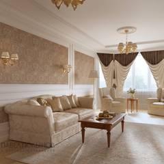 Дизайн интерьера 4-комнатной квартиры в классическом стиле, 204 м.кв. : Гостиная в . Автор – Студия Павла Полынова