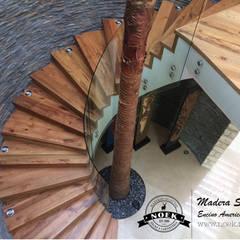 Piso de madera de ENCINO: Escaleras de estilo  por Noek Pisos de Madera y Carpintería