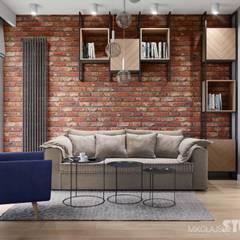 soft loft-ściana z cegły: styl , w kategorii Salon zaprojektowany przez MIKOŁAJSKAstudio