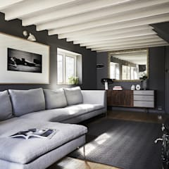 Thatched Cottage | Living Room:  Media room by Fawn Interiors Studio