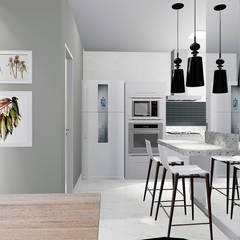 Cozinha em conceito aberto: Armários de cozinha  por Trivisio Consultoria e Projetos em 3D