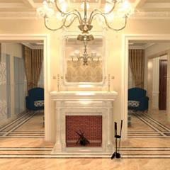 شقة سكنية ( دوبلكس ) في التجمع الخامس :  غرفة المعيشة تنفيذ Quattro designs