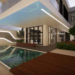 Sun House: Kolam renang halaman oleh Arci Design Studio, Modern