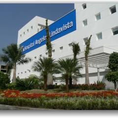 Jardines del Hospital Angeles de Lindavista: Hospitales de estilo  por BARRAGAN ARQUITECTOS