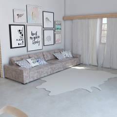 Sala de estar 50m² Design escandinavo : Salas de estar ecléticas por Carolina Mendes - Arquitetura & Design