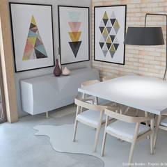 Sala de jantar 50m² Design escandinavo : Salas de jantar  por Carolina Mendes - Arquitetura & Design