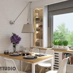biała kuchnia-drewniane akcenty: styl , w kategorii Kuchnia zaprojektowany przez MIKOŁAJSKAstudio