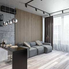 Квартира 57 кв.м. в индустриальном стиле в Тетрисс-холл г.Киев Гостиная в стиле лофт от Студия архитектуры и дизайна Дарьи Ельниковой Лофт