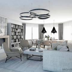jasny salon: styl , w kategorii Salon zaprojektowany przez MIKOŁAJSKAstudio
