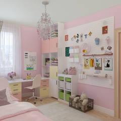 Dormitorios de niñas de estilo  por Гузалия Шамсутдинова | KUB STUDIO