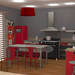 Rénovation d'un séjour et d'une cuisine: Éléments de cuisine de style  par Hélène Sommé Architecte d'intérieur