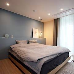 김포 32평 시공을 최소화한 새아파트 홈스타일링: homelatte의  침실