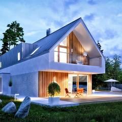 Projekt EX 20 G2 ENERGO PLUS - nowoczesny dom na wąską działkę : styl , w kategorii Dom jednorodzinny zaprojektowany przez Pracownia Projektowa ARCHIPELAG