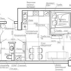 Квартира 50 кв.м. в стиле эклектика в ЖК ART: Стены в . Автор – Студия архитектуры и дизайна Дарьи Ельниковой