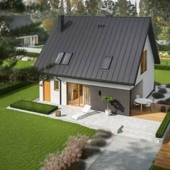 Projekt domu Mini 5 - mały, kompaktowy, na wąską działkę : styl , w kategorii Dom jednorodzinny zaprojektowany przez Pracownia Projektowa ARCHIPELAG,