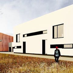 Projekt zespołu zabudowy szeregowej : styl , w kategorii Dom szeregowy zaprojektowany przez e-Architekt