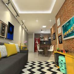 Reforma de Apartamento Salas de estar rústicas por Sitá Arquitetura e Urbanismo Rústico Tijolo