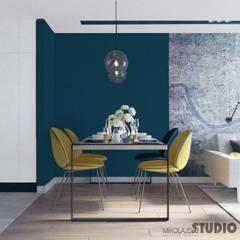jadalnia-żółte krzesła: styl , w kategorii Jadalnia zaprojektowany przez MIKOŁAJSKAstudio