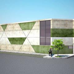 Almacenes Blend - Vista Exterior: Espacios comerciales de estilo  por Soluciones Técnicas y de Arquitectura