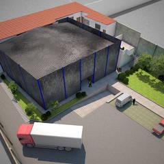 Almacenes Blend - Vista Aérea: Espacios comerciales de estilo  por Soluciones Técnicas y de Arquitectura
