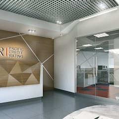 Recepción - Vista 3D: Oficinas y Tiendas de estilo  por Soluciones Técnicas y de Arquitectura