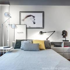 Pokoje dla trójki rodzeństwa Nowoczesna sypialnia od 4ma projekt Nowoczesny