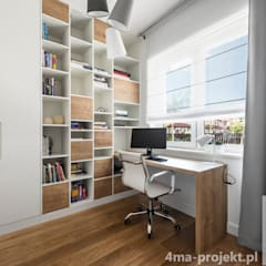 Projekt domu o pow. 148 m2. Nowoczesne domowe biuro i gabinet od 4ma projekt Nowoczesny