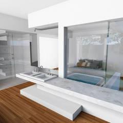 Suite Casal: Quartos  por Gislene Soeiro Arquitetura e Interiores