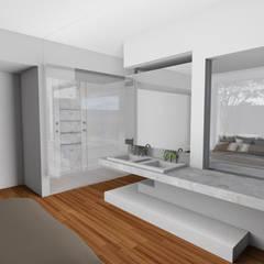 Sala de Banho do Casal: Banheiros tropicais por Gislene Soeiro Arquitetura e Interiores