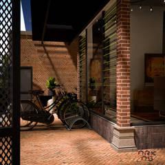Eksterior Rumah Tinggal Industrial Style, Nonongan, Surakarta: Teras oleh ARKAStudio,