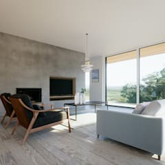 Living room open plan: modern Living room by Brown + Brown Architects