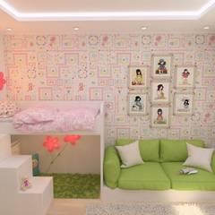 4-х комнатная квартира на Почтовом проезде: Спальни для девочек в . Автор – Гузалия Шамсутдинова | KUB STUDIO