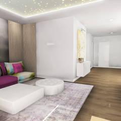 Vista general con detalle techo sala de audiovisuales: Salas multimedia de estilo  de CARMAN INTERIORISMO