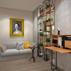 Квартира 79 кв.м. в стиле эклектика ЖК Пресненский вал: Гостиная в . Автор – Студия архитектуры и дизайна Дарьи Ельниковой