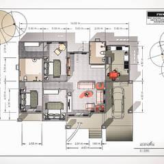 Pasillos y vestíbulos de estilo  por แบบบ้านออกแบบบ้านเชียงใหม่
