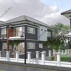 Casas unifamiliares de estilo  por แบบบ้านออกแบบบ้านเชียงใหม่
