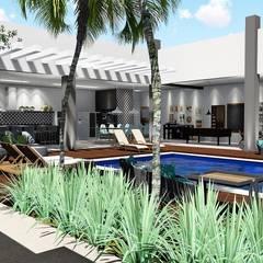 Área de lazer completa e apaixonante: Piscinas de jardim  por Trivisio Consultoria e Projetos em 3D
