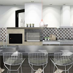 Área de lazer completa e apaixonante: Cozinhas embutidas  por Trivisio Consultoria e Projetos em 3D